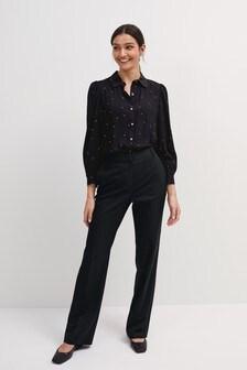 Black Spot Curved Collar Shirt