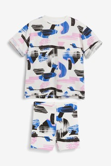 Blue/Pink Printed T-Shirt & Cycling Short Set (3-16yrs)