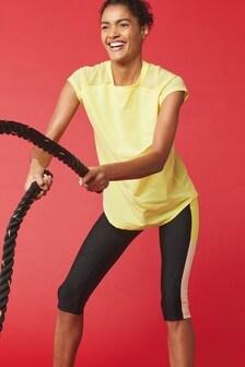 Yellow Short Sleeve Mesh Panel T-Shirt