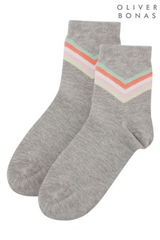 Oliver Bonas Grey Chevron Ankle Socks