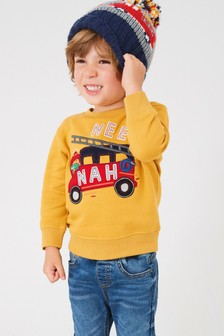 Yellow Fire Engine Crew Neck Sweater (3mths-7yrs)