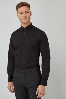 Black Regular Fit Double Cuff Cotton Shirt