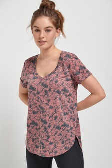 Pink Marble Print Short Sleeve V-Neck Sports Top