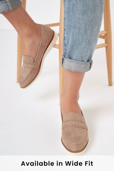 Sand Regular/Wide Fit Forever Comfort™ Brogue Detail Chunky Sole Loafers