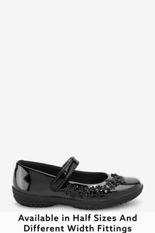 Black Patent Standard Fit (F) Flower Mary Jane Shoes