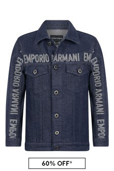 Boys Blue Denim Logo Jacket