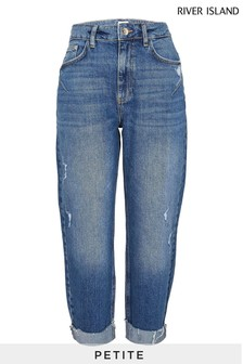 River Island Petite Blue Denim Medium Carrie Mom Coulee Jeans