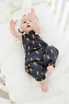 Monochrome Leopard Jersey Dungarees And Bodysuit (0mths-2yrs)