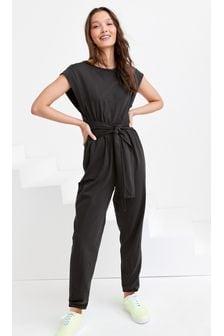 Black Tie Front Jumpsuit