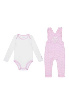 Baby Girls Pink & White Cotton Dungarees Set (2 Piece)