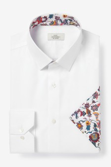 White Cotton Slim Fit Single Cuff Shirt And Floral Pocket Square Set