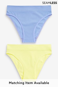 Lilac/Lime High Leg Seamless Ribbed High Leg Knickers 2 Pack