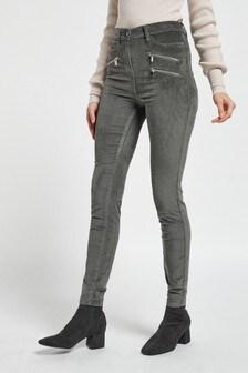 Sage Super Soft Velvet Biker Skinny Jeans