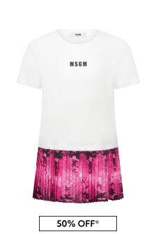 MSGM Girls White Cotton Dress