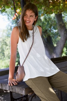 White Tiered Shell Top