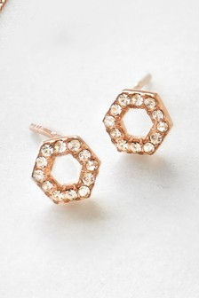 Sterling Silver Rose Gold Plated Hexagon Stud Earrings