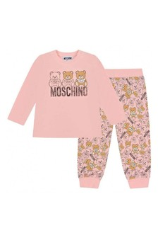 Baby Girls Pink Cotton T-Shirt & Trousers Set