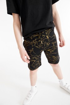 Black/Gold All Over Print Shorts (3-16yrs)