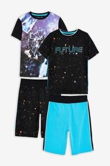 Black/Teal 2 Pack Space Short Pyjamas (3-16yrs)