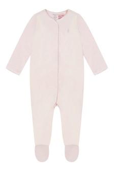 Ralph Lauren Girls Pink Velour Babygrow