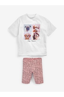 Pink/White Dog Print T-Shirt & Cycling Shorts Set (3-16yrs)