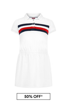 فستان قطن أبيض للبنات منTommy Hilfiger