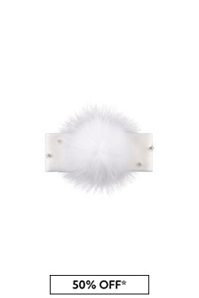 Girls Cream Headband With Faux Fur Pom Pom