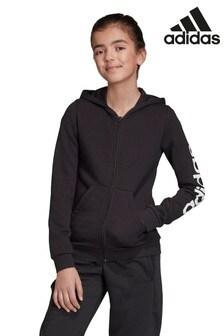 adidas Black Linear Logo Full Zip Hoody