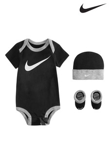 Nike Baby Black Vest, Hat And Bootie Set