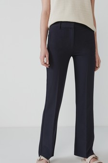 Navy Elastic Back Bootcut Trousers