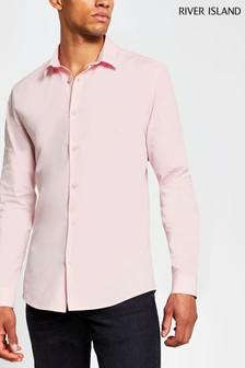 River Island Pink Light Muscle Fit Shirt