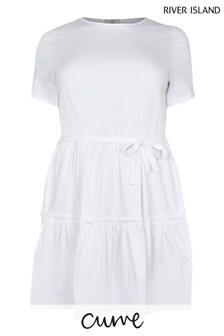 River Island Plus White T-Shirt Tiered Smock Dress