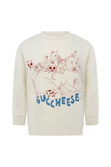 Baby Boys White Cotton Guccheese Sweatshirt