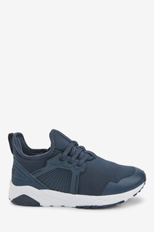 Navy Blue Elastic Lace Trainers