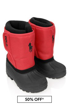 Boys Red & Black Snow Boots