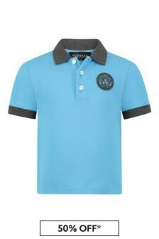Baby Boys Blue Cotton Polo Shirt