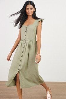 Khaki Back Detail Viscose/Linen Look Dress