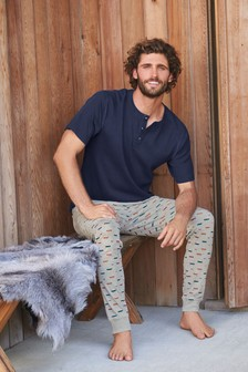 Navy/Grey Campervan Cuffed Pyjama Set
