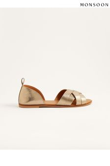 Monsoon Gold Cross-Over Leather Sandals