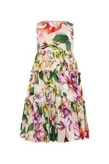 فستان قطن وردي زهور للبنات البيبي منDolce & Gabbana