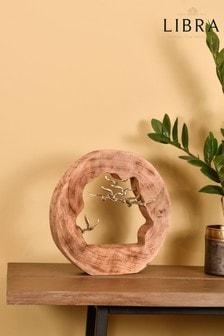 Libra Flying Birds Wooden Log Sculpture