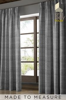 Scribble Gunmetal Black Made To Measure Curtains by Orla Kiely