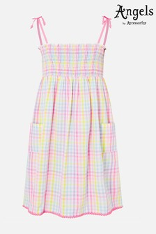 Angels By Accessorize Gold Rainbow Check Dress In Pure Cotton