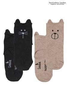 Turtledove London Cat/Dog Sock Black/Stone Socks Two Pack
