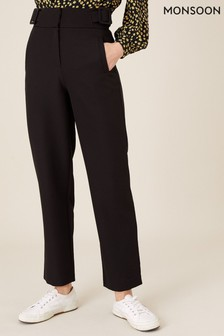 Monsoon Black Smart Tapered Trousers