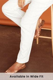 Tan Regular/Wide Fit Forever Comfort® Cross Front Slingbacks