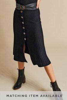 Black Button Detail Midi Skirt