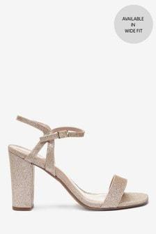 Shimmer Block Heel Delicate Sandals