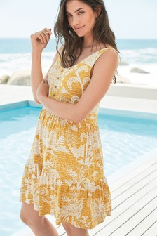 Ochre Floral Tiered Swing Sun Dress