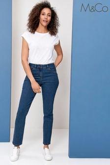 M&Co Mid Wash Basic Straight Leg Jeans
